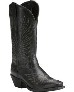 Ariat Women's Black Round Up Phoenix Boots - Square Toe , Black, hi-res