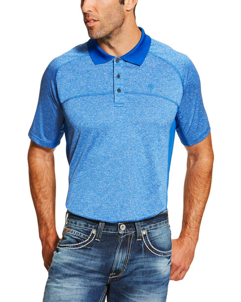 Ariat Men's Blue Heat Series Tek Polo Shirt , Blue, hi-res