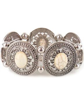 Shyanne Women's Engraved Bone Stretch Bracelet, Silver, hi-res