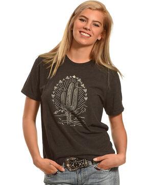 Cowgirl Justice Women's Saguaro Cactus Crew Neck Tee, Black, hi-res