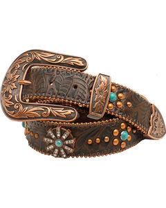 Nocona Women's Floral Embossed Spiral Rowel Concho Belt, Copper, hi-res