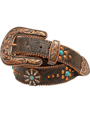 Nocona Women's Floral Embossed Spiral Rowel Concho Belt, Copper, hi-res