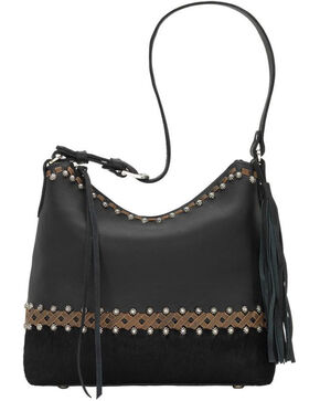 American West Women's Wild Horses Shoulder Handbag , Black, hi-res