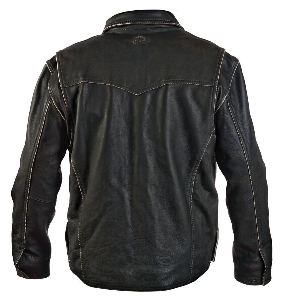 STS Ranchwear Men's Vegas Black Leather Jacket - Big & Tall - 4XL, Black, hi-res