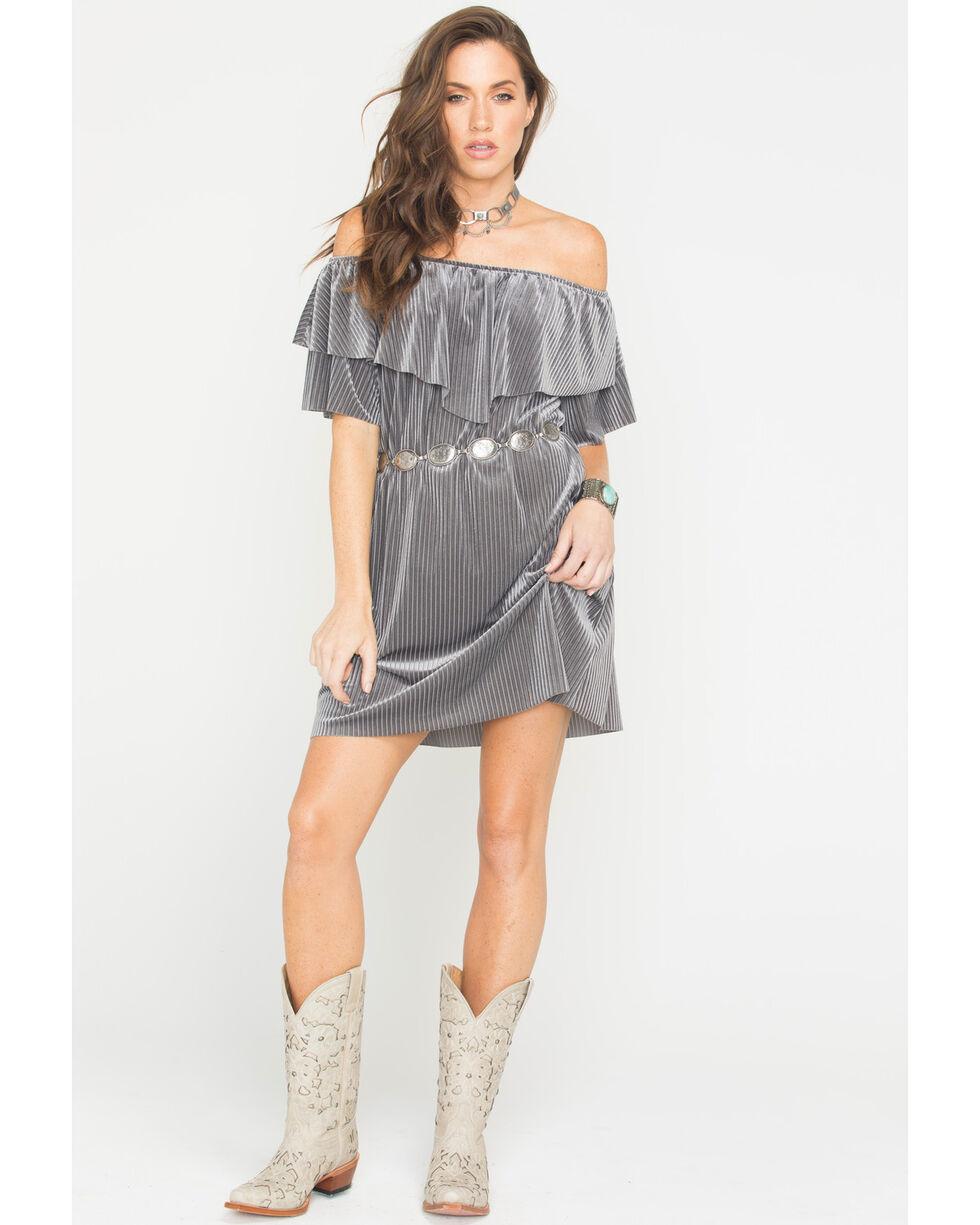 CES FEMME Women's Grey Ribbed Flounce Ruffle Dress , Grey, hi-res