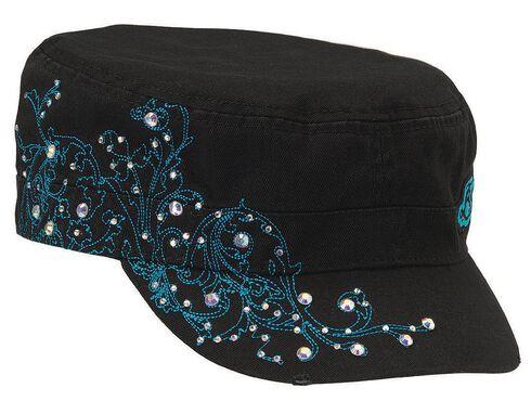 Blazin Roxx Embellished Turquoise Scroll Stitched Cap, , hi-res