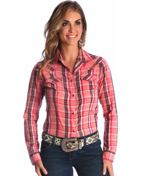 Wrangler Women's Coral Rhinestone Studded Long Sleeve Shirt , Coral, hi-res