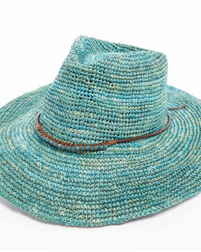 ále by Alessandra Cassidy Crochet Raffia with Stone Leather Trim Hat , Turquoise, hi-res