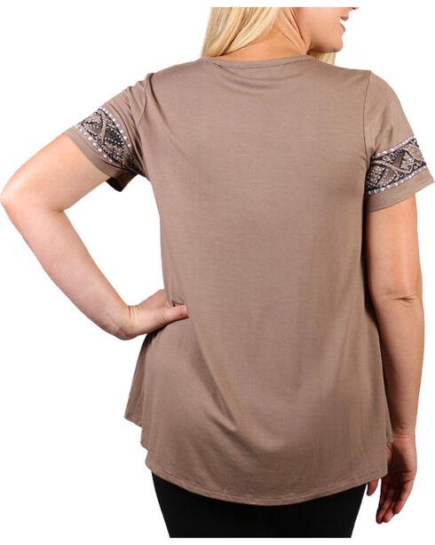 Vocal Women's Rhinestone Cross Short Sleeve Top - Plus, Beige/khaki, hi-res
