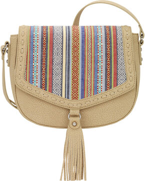 Bandana by American West Boho Rainbow Flap Crossbody Bag, Sand, hi-res