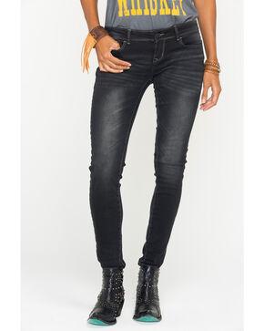 Grace in LA Women's Black Simple Pocket Jeans - Skinny , Black, hi-res