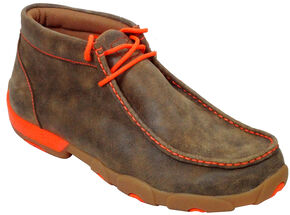 Twisted X Men's Leather Ankle Driving Shoes, Brown, hi-res