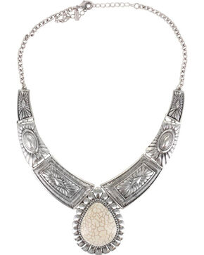 Shyanne Women's Concho Tiered Necklace, Silver, hi-res