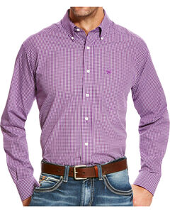 Ariat Men's Zeymore Classic Fit Wrinkle Free Print Long Sleeve Shirt, Purple, hi-res