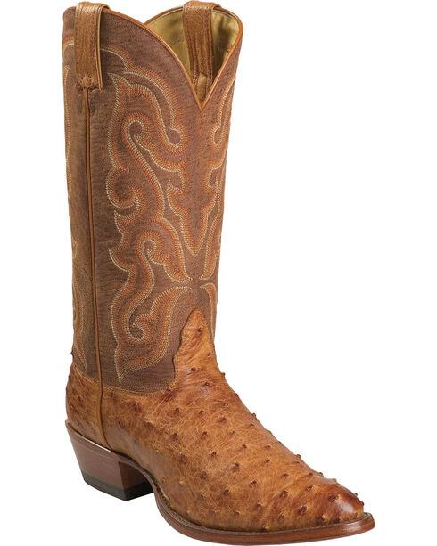 Nocona Full Quill Ostrich Cowboy Boots - Medium Toe, Cognac, hi-res