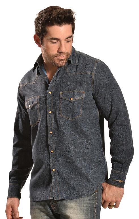 Ryan Michael Men's Double-Dye Paisley Shirt, Black, hi-res