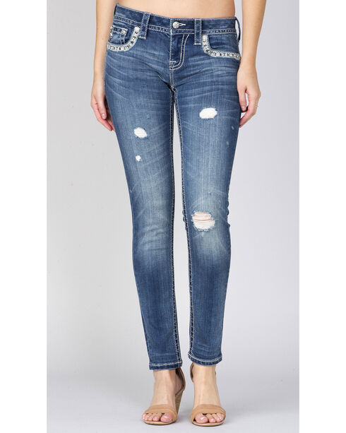 Miss Me Indigo Embroidered Pocket Ankle Jeans - Straight, Indigo, hi-res