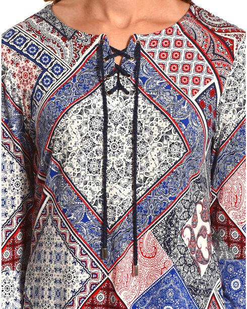 Ruby Rd. Women's Bandana Patchwork Print Top, Navy, hi-res