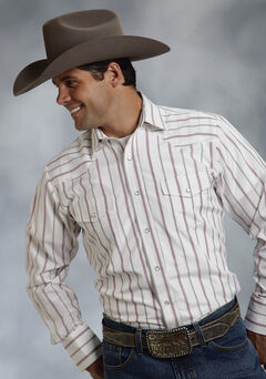 Roper Men's Red & White Striped Western Shirt, , hi-res