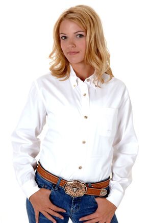 Roper Women's Amarillo Solid Button-Down Poplin Shirt - Plus, White, hi-res
