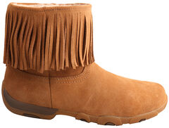 "Twisted X Women's 6"" Suede Fringe Driving Moc Boots - Round Toe , Natural, hi-res"