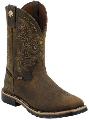 Justin Men's Dark Brown George Strait Waterproof Cowboy Boots - Square Toe , Bark, hi-res