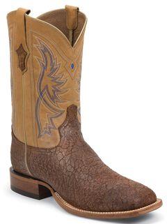 Tony Lama San Saba Distressed Cowboy Boots - Square Toe, Tan, hi-res