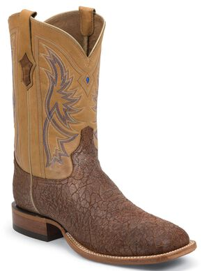 Tony Lama San Saba Distressed Cowboy Boots - Square Toe, Tan, hi-res