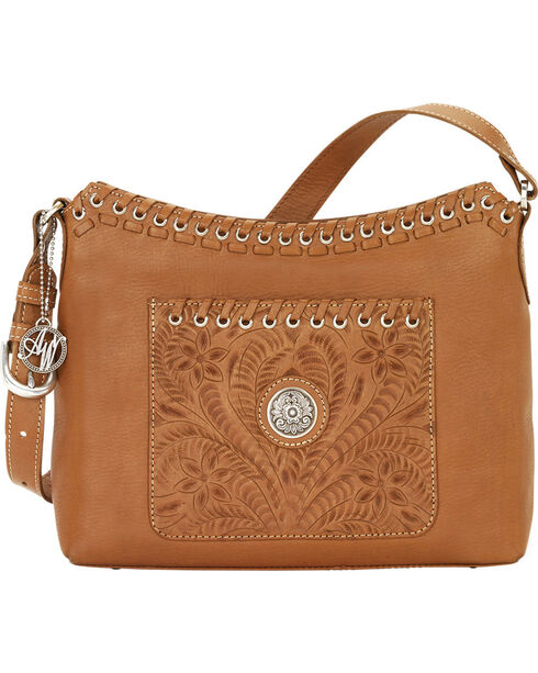 American West Golden Tan Harvest Moon Shoulder Bag, Tan, hi-res