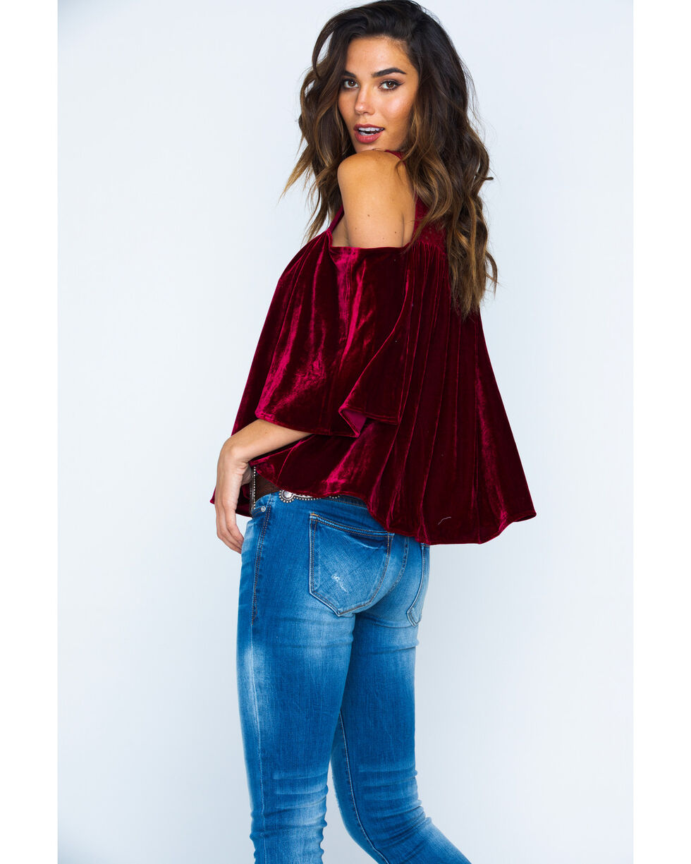 Miss Me Women's Wine Crushing It Cold-Shoulder Top , Wine, hi-res