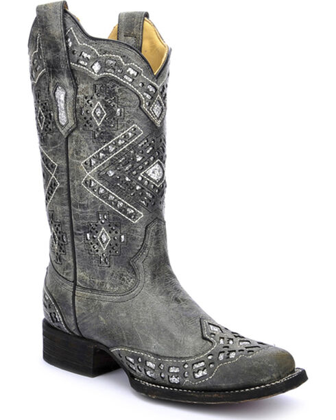Corral Women's Glitter Cowgirl Boots - Square Toe, Black, hi-res