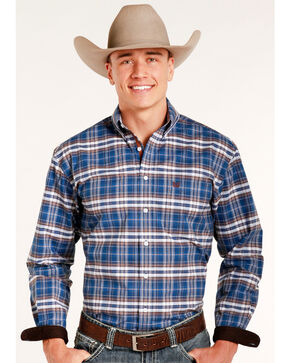 Rough Stock by Panhandle Men's Pemberton Ombre Plaid Shirt, Navy, hi-res