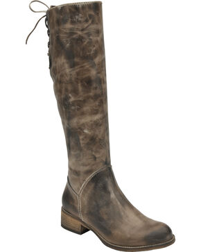 Corral Chocolate Taupe Lace-Up Tall Boots - Round Toe , Chocolate, hi-res