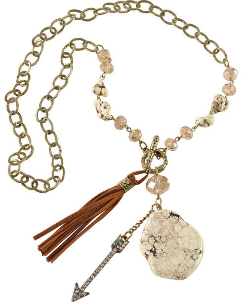 Shyanne® Women's Charm & Tassel Necklace, Gold, hi-res