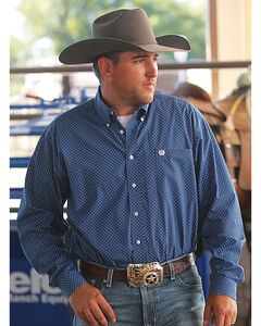 Cinch Men's Royal Blue Spot Print Western Shirt - Big and Tall , Royal Blue, hi-res