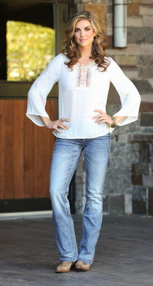 Wrangler Rock 47 Women's Applique Bell Sleeve Top, Vanilla, hi-res