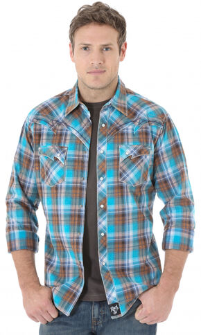 Wrangler Rock 47 Men's Teal and Brown Plaid Western Shirt , Teal, hi-res