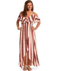 Polagram Women's Ruffle Maxi Dress , Black, hi-res