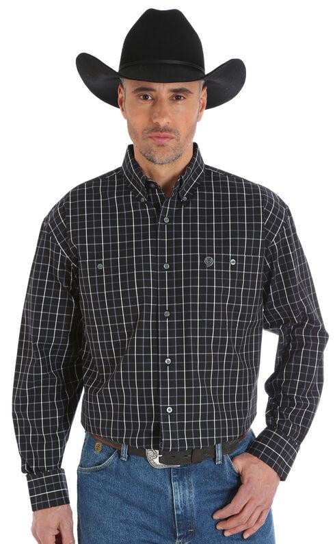 Wrangler George Strait Men's Poplin Plaid Button Shirt - Big & Tall, Black, hi-res