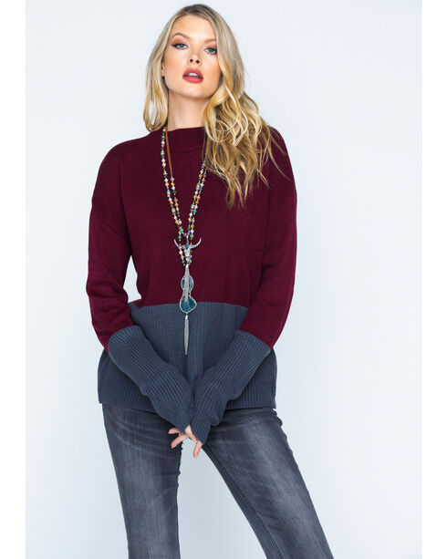 Polagram Women's Two Tone Mock Neck Sweater, Burgundy, hi-res