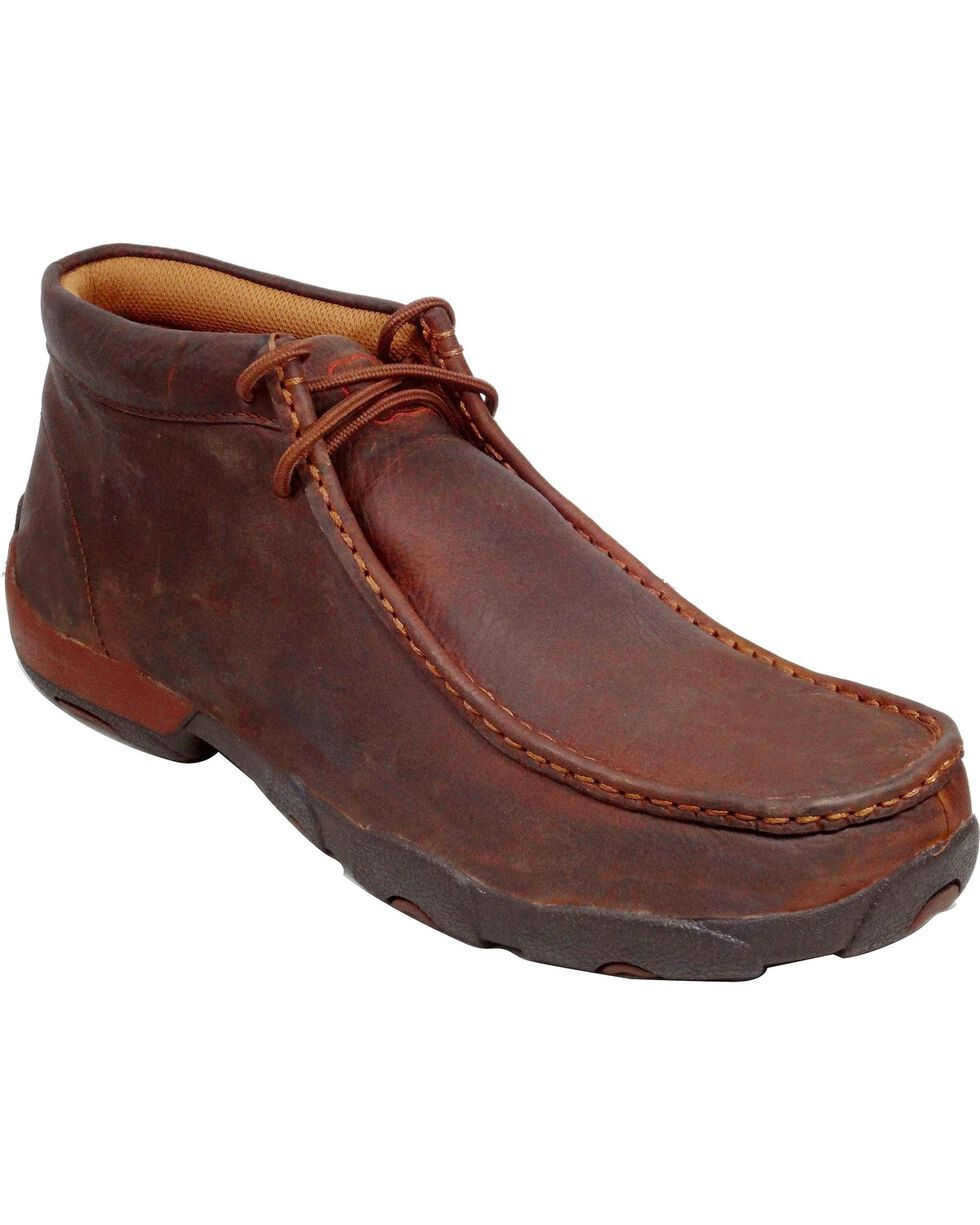 Twisted X Driving Lace-Up Moccasin Shoes - Round Toe, Copper, hi-res