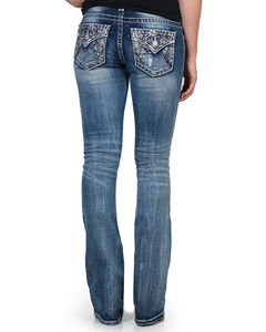 Miss Me Women's Floral Embroidered Mid Rise Jeans - Boot Cut, Blue, hi-res