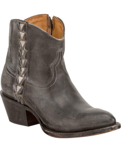 Lucchese Women's Handmade Chloe Black Goat Leather Geometric Overlay Western Booties - Round Toe, Black, hi-res