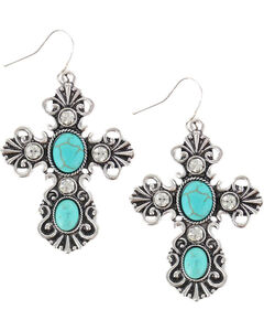 Shyanne Women's Turquoise Pendant Cross Earrings, Turquoise, hi-res