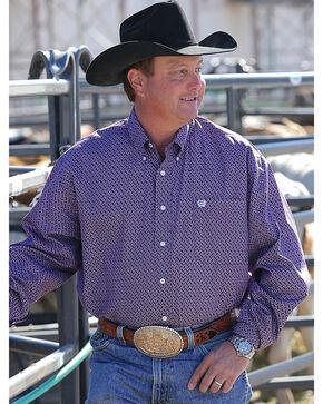 Cinch Men's Basketweave Geo Print Long Sleeve Button Down Shirt, Purple, hi-res