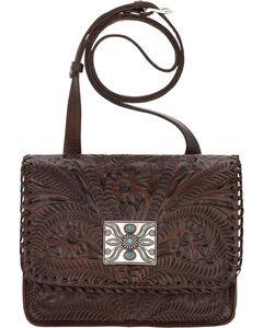 American West Brown Grand Prairie Crossbody Flap Bag , , hi-res