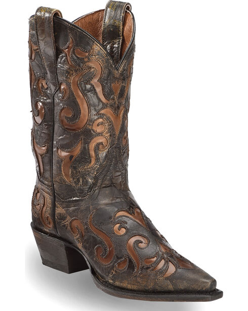 "Dan Post Women's 12"" Waxy Underlay Western Boots - Pointed Toe, Brown, hi-res"