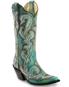 Corral Women's Shaded & Studded Cowgirl Boots - Snip Toe, , hi-res