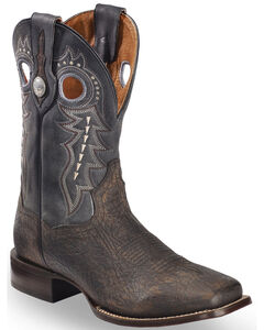 Dan Post Men's Badlands Distressed Leather Cowboy Boots - Square Toe , Black, hi-res