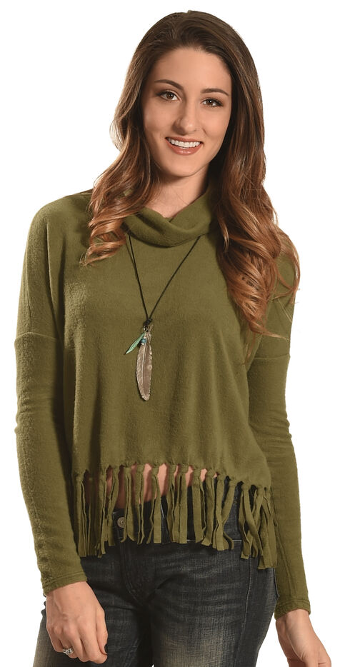 Derek Heart Women's Olive Drop Shoulder Fringe Sweater , Olive, hi-res